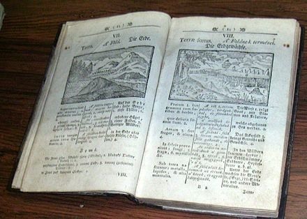 Orbis Pictus, a revolutionary children's textbook with illustrations published in 1658 by educator John Amos Comenius. Orbispictus.JPG
