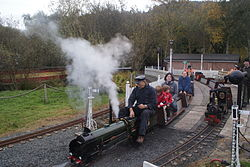 The Orchid Line, Curraghs Wildlife Park, Isle of Man. The loco is a fictitious example of Southern Railway Schools class, number 30940 St Leonards, 25 October 2009