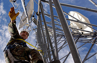 Inspection - An Oregon Air National Guardsman makes an inspection of a radio-tower