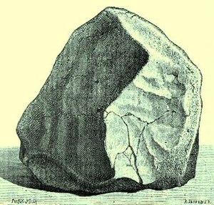 Orgueil (meteorite) - Original painting of an individual fragment from the Orgueil meteorite