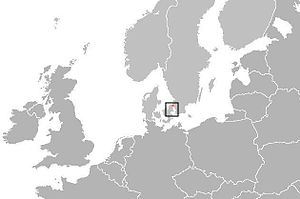 HH Ferry route - Location map, of map below. Northern half of Europe, except extreme north
