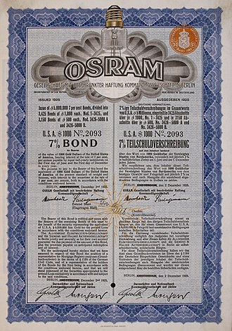 Osram - bilingual bond of the Osram company, issued 2 December 1925