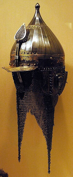 Lobster-tailed pot helmet - A Turkish ''chichak'' helmet (16th century), ancestral to the later lobster-tailed pot helmet. The cheekpieces and neck guard are supplemented by a mail defence in this example (The Metropolitan Museum of Art)