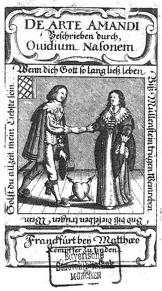 Ars Amatoria - Title page of a 1644 edition of Ars amatoria, published in Frankfurt.