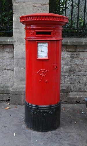 George Street, Oxford - Victorian pillar box outside the former High School.