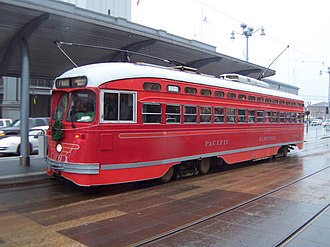 San Francisco Municipal Railway - An F Market and Wharves heritage streetcar at the Ferry Building