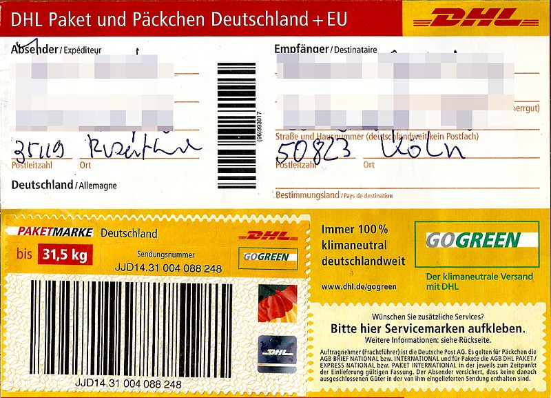 file paketaufkleber dhl paket mit paketmarke bis 31 5 kg wikimedia commons. Black Bedroom Furniture Sets. Home Design Ideas