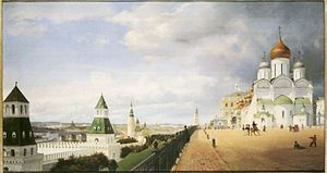 linker Seitenteil des Kreml-Panorama in Moskau (Eduard Gaertner)