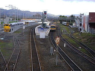 Papakura District - Overview of Papakura station, viewed from Clevedon Road