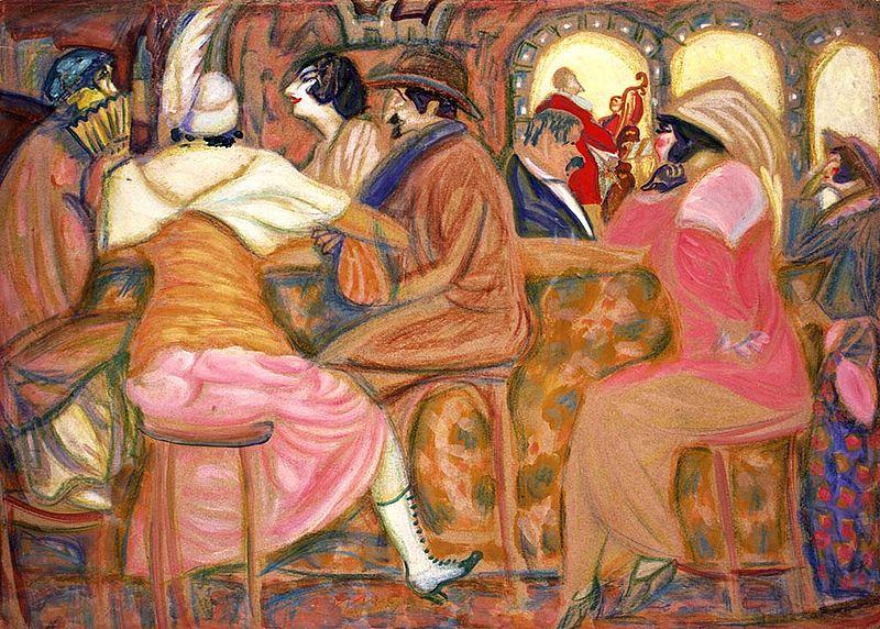 Paris cafe by Boris Grigoriev (GTG, 1914).jpg