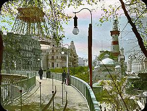 English: Paris Exposition: moving sidewalk, Pa...