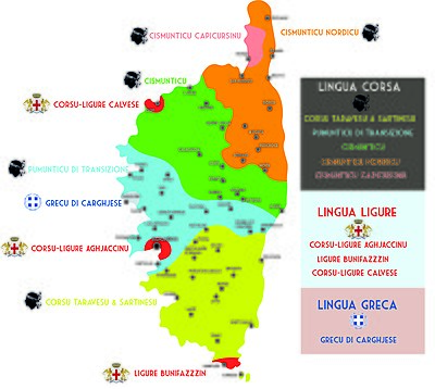 Languages and dialects of Corsica. Parlers de Corse.jpg
