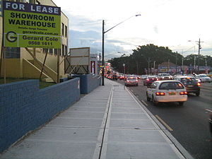 Parramatta Road - Parramatta Road looking west at Burwood, near Rosebank College, during peak hour