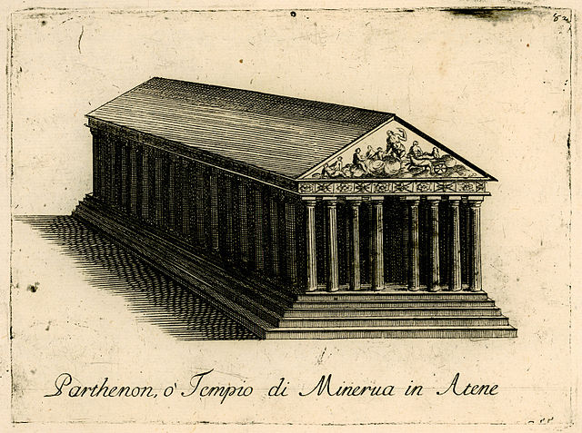 A detailed drawing of the Parthenon by Vincenzo Coronelli, 1688. (Wikimedia Commons) The structure belonged to the effusion of culture that followed Athens' emergence from the Persian Wars as an imperial powerhouse.