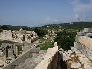 Patara, Lycia - A view back across the city ruins from the top of the theatre