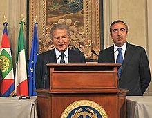 Fabrizio Cicchitto e Maurizio Gasparri al termine delle consultazioni al Quirinale (2008)