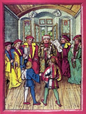 Treaty of Basel (1499) - Negotiations for the Treaty of Basel in 1499 at the end of the Swabian War. The Milanese envoy Galeazzo Visconti presents his peace proposals to the delegation of Holy Roman Emperor Maximilian I at the city hall of Basel. A delegate from Lucerne (front left, in the blue-white dress) translates.