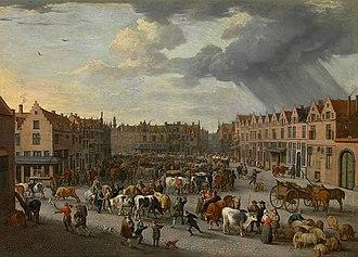 Peeter van Bredael - The Old Ox Market in Antwerp