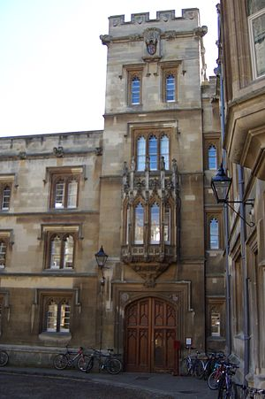 Pembroke College, Oxford - The entrance to Pembroke College in Pembroke Square. Samuel Johnson had rooms on the second floor above the entrance, as an undergraduate in 1728.