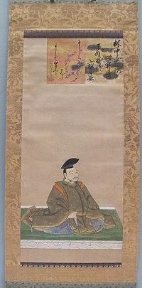 Periodo azuchi-momoyama, iscrizione per ritratto di yamabe no akahito, fatto dall'imperatore goyozei, XVI-XVII sec.JPG