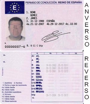 Driver's license - A license from Spain, in the format of the European driving licence