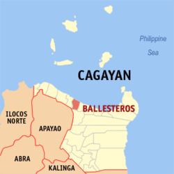 Map of Cagayan showing the location of Ballesteros