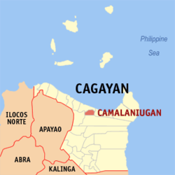 Map of Cagayan showing the location of Camalaniugan
