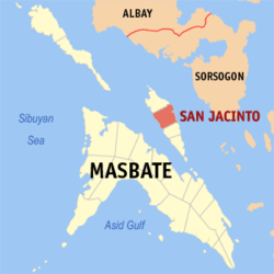 Map of Masbate with San Jacinto highlighted