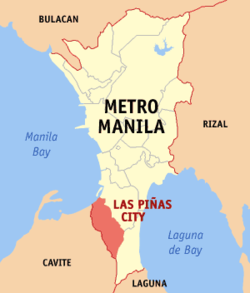 Map of Metro Manila showing the location of the city of Las Piñas.