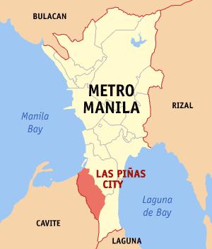 Map of Metro Manila with Las Piñas highlighted