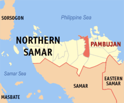 Map of Northern Samar with Pambujan highlighted