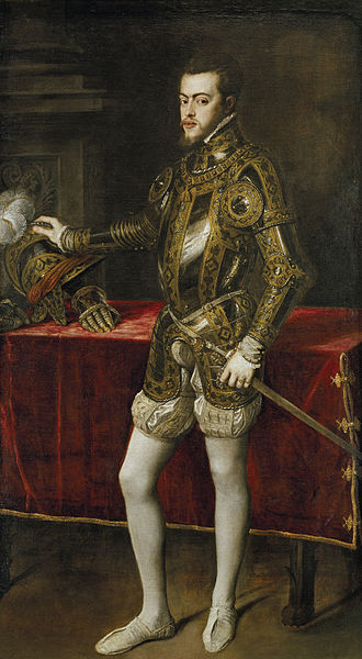 Titian portrait of Philip as prince (1554), aged about twenty-four dressed in a lavishly decorated set of armour. Philip II.jpg