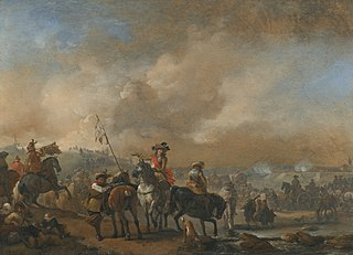 Cavalry on the move, a fortification under siege beyond