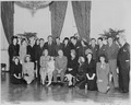 Photograph of movie stars posing with President Truman and his family at the White House, (front row, left to right)... - NARA - 199329.tif