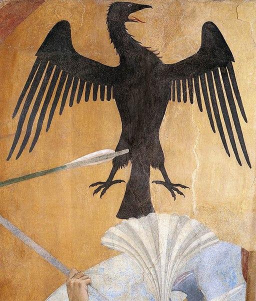 Piero della Francesca, Le Storie della Vera Croce, Battaglia di Eraclio e Cosroè, (particolare dell'l'emblema Imperatore bizantino)