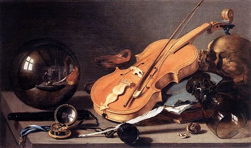 Pieter Claesz. - Vanitas with Violin and Glass Ball - WGA04974