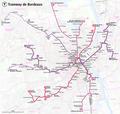 Plan du réseau des tramways de Bordeaux.png