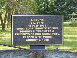 Arizona, Manitoba - Image: Plaque Commemorating Arizona School District Number 478 at Arizona, Manitoba