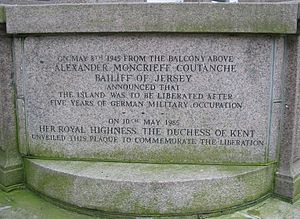 Alexander Coutanche, Baron Coutanche - On May 8th 1945 from the balcony above Alexander Moncrieff Coutanche Bailiff of Jersey announced that the Island was to be liberated after five years of German military occupation