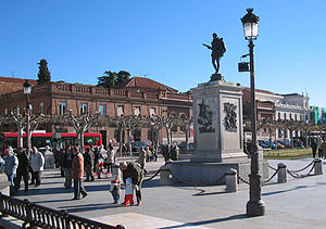 The Plaza de Cervantes, shown here in the winter, is the social center of Alcalá de Henares. Visible is the statue of Miguel de Cervantes, the city's most famous native.