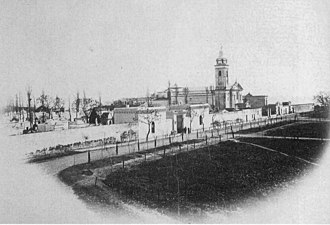 Recoleta, Buenos Aires - Recoleta Plaza in 1867. View of the Cemetery and the Church of Nuestra Señora del Pilar.