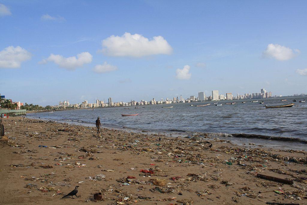 Polluted Beach of Mumbai. Girgaum Chowpaty. Maharashtra, India. (1)
