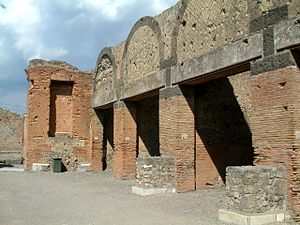 Macellum of Pompeii - Macellum of Pompeii - View from the outside to the Tabernae