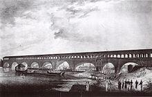 Veduta del ponte coperto sul Tanaro che portava alla Cittadella. XIX secolo