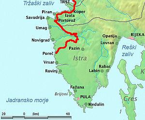 Parenzana - The map of Parenzana