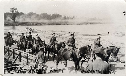 Prince Arthur and his viceregal party visit the Valcartier military base in 1914. Postcard of Vice-Regal Visit to Valcartier Military Base 1914.jpg