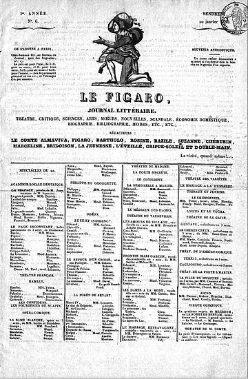 6th issue, 20 January 1826 Premier numero du Figaro.jpg