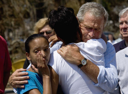 President Bush with hurricane victims in Biloxi, September 2, 2005 President Bush Biloxi after Katrina.jpg