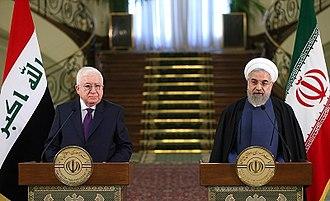 Fuad Masum - Masum with Iranian President Hassan Rouhani in Saadabad Palace