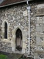 Priest's door at Buckland, with Sheela Na Gig carving - geograph.org.uk - 1201470.jpg